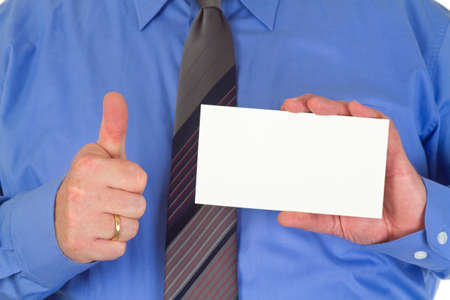Businessman with blank white card photo