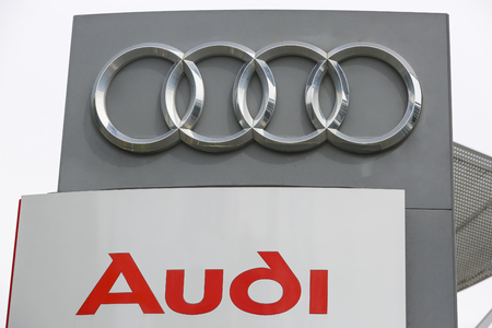 HUETTENBERG, GERMANY JULY, 2017: AUDI logo on a store facade. AUDI is a German car manufacturer based in Ingolstadt,BADEN-WA WURTTEMBERG, Germany. Editorial