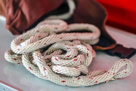 Big rope lifeline in detail - Fire department accessories Reklamní fotografie