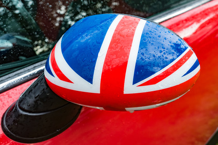 Car mirror in Detail with flag of Great Britain