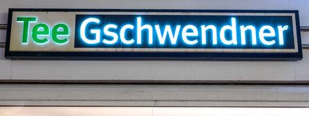 GIESSEN  GERMANY DECEMBER 2017: Illuminated  Logotype of  TEE GESCHWENDNER. TEE GESCHWENDNER is a tea shop chain based in Meckenheim Rheinland-Pfalz. Publikacyjne