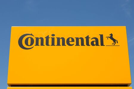 WETZLAR, HESSEN, GERMANY - June 2017 : CONTINENTAL Logo on a administration building in WETZLAR.  CONTINENTAL is one of the worlds leading manufacturers for commercial vehicle tires, based in Hannover, Niedersachsen, Germany.