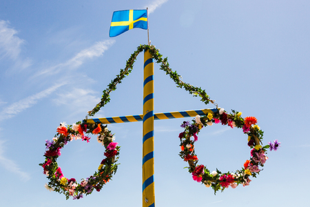 Midsummer flower wreath with Swedish flag