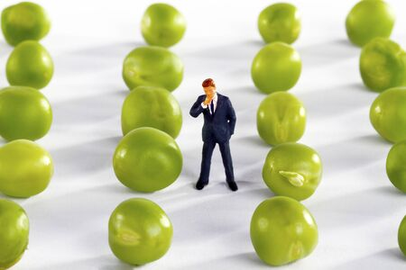 Figurine from business man with fresh peas in a row - Concept counting peas