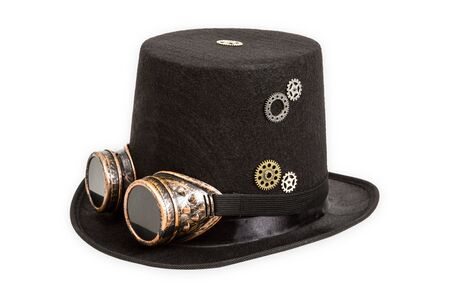 Steampunk hat isolated on white background