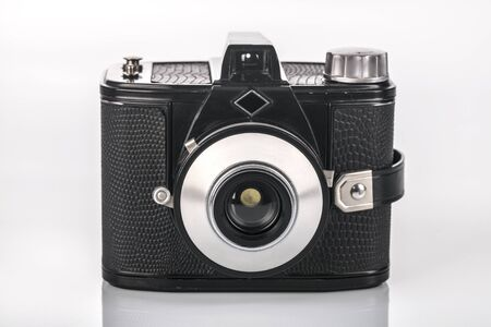 Front of analog retro Camera 6x9 on bright background