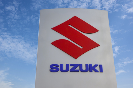 WETZLAR - MARCH 25 2018: Suzuki Motor Corporation logo. Suzuki Motor Corporation is a Japanese multinational corporation,that manufactures automobiles, four-wheel drive vehicles, motorcycles.