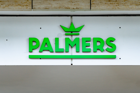 Wiesbaden, Germany - June 03 2018: PALMERS logo on a facade. PALMERS underwear fashion store, brand for men and womens underwear fashion.