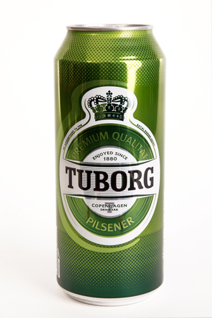 HUETTENBERG, GERMANY - AUGUST 14, 2018: Can of TUBORG PILSNER BEER isolated on white. Editorial