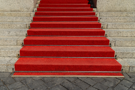 Outdoor stairs with red carpet in detail Banco de Imagens