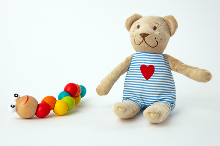 Colorful Baby Toys for on bright background