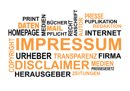 Wordcloud german words on the topic of impressum and press
