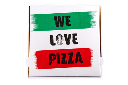 Pizza Box with We Love Pizza lettering isolated on white background