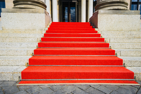 Stairs with Red Carpet on historic Building