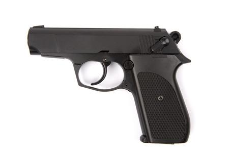 Black Pistol isolated on white background Foto de archivo