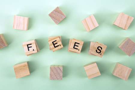 Concept Fees: Wooden cubes with the letters Fees on green background Banque d'images - 122658203