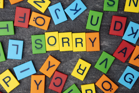 Sorry wrote with colorful toy letters on dark background