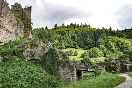 Archway from historic castle ruin Schauenburg in Blackforest Germany