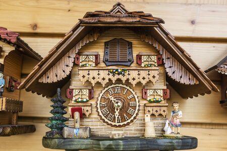 Decorative wooden Cuckoo clock in Detail