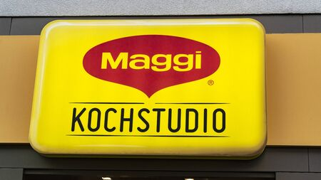 FRANKFURTMain, GERMANY 5th OCTOBER 2019. MAGGI store logo. MAGGI , is named after its founder Julius Maggi Swiss food industry company, which is mainly known for instant soups, bouillon cubes. Редакционное