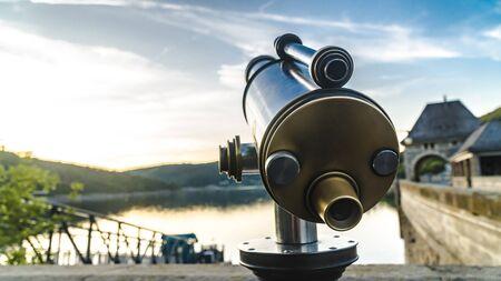 Telescope on touristic destination on Edersee Hessen Germany