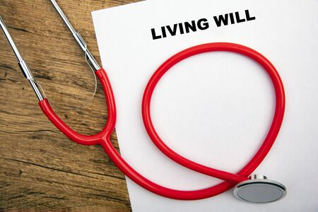 Concept Living Will - Stethoscope on a white Paper Foto de archivo