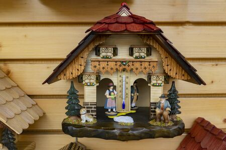 Decorative wooden Cuckoo clock in Detail Zdjęcie Seryjne