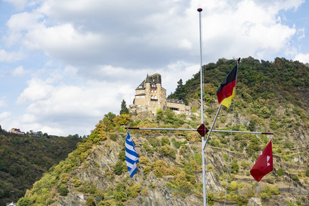 Romantic Burg Katz with flags in Rhine Valley in germany