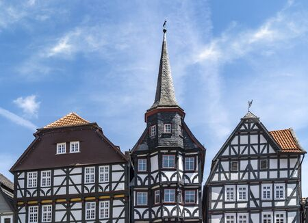 Traditional half timbered houses in a old town Fritzlar in Germany