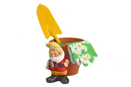 Gardening tools with a garden tool on white background.