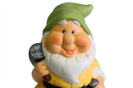 The Classic Garden Gnome Statue isolated on white background