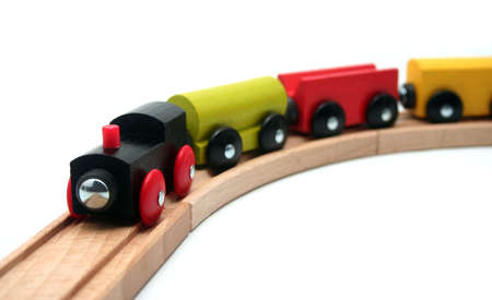 wood railroad: Wooden Toy Train Set on White Background