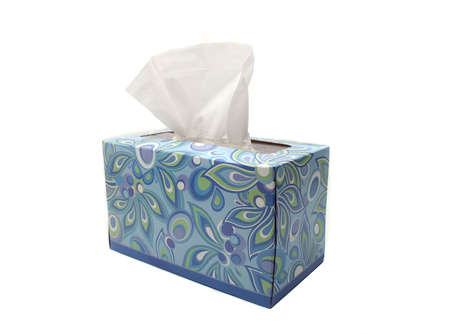 facial tissue: Blue Box of Tissues on White Background