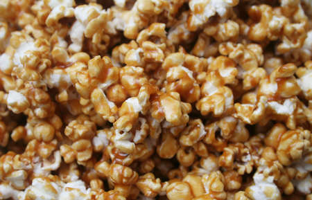 Close up background texture of Caramel Popcorn Stock Photo
