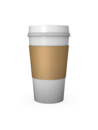 disposable: Computer Generated Coffee Cup with Cardboard Sleeve Stock Photo