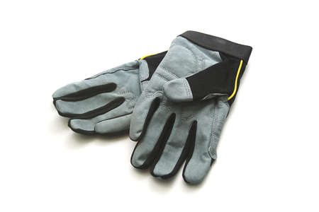 Black and Gray Work Gloves on White Background photo