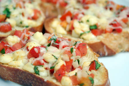 Close Up View of Tomato Bruschetta Appetizer