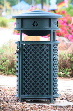 Outdoor Recycling Bin in a Park Setting Stock Photo - 9863366
