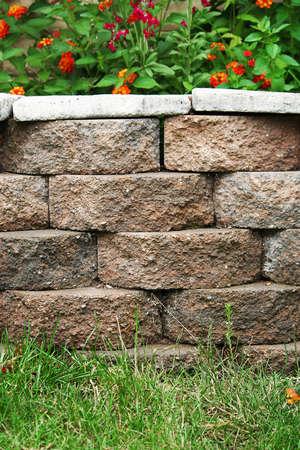 Residential Backyard Concrete Retaining Block Wall Planter photo