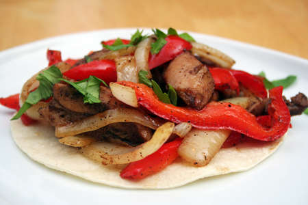 Skillet Chicken Fajita on a White Plate