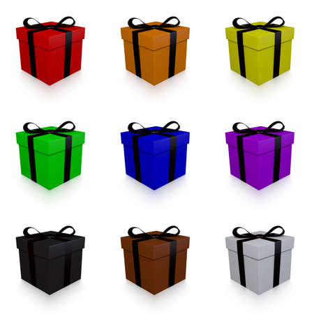 giftbox: Collection of Rainbow Colored, 3d Rendered Presents with Black Bows on a White Background Stock Photo