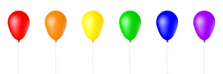 Collection of Rainbow Colored, 3d Rendered Balloons on a White Background Banco de Imagens