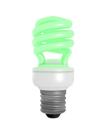 3D Rendered Green Glowing CFL Light Bulb on a White Background Stock Photo