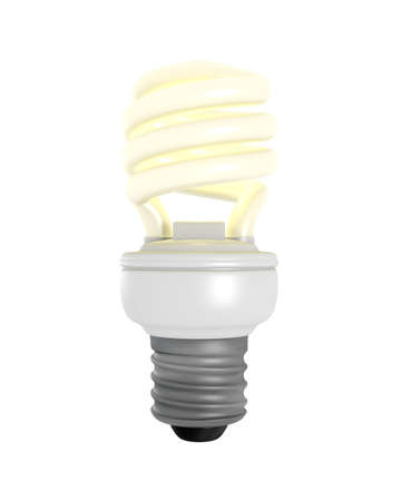 3D Rendered CFL Light Bulb on a White Background