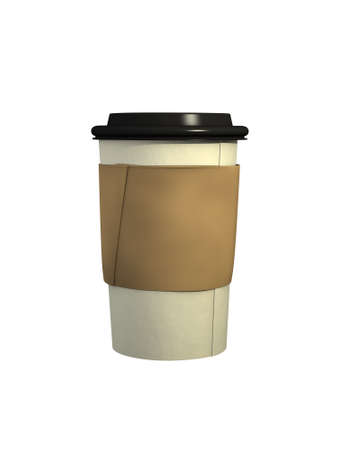 take away: Computer Generated Coffee Cup with Black Plastic Lid and Cardboard Sleeve