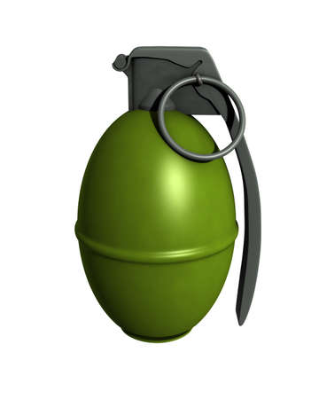 3D Rendered M61 Grenade on a White Background Stock Photo