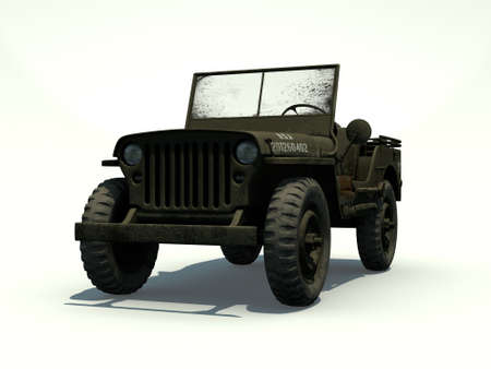 Front View of a 3D Rendered Willys Jeep on a White Background photo