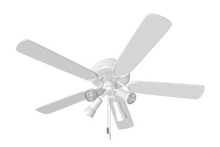 3D Rendered White Ceiling Fan on a White Background Stock Photo