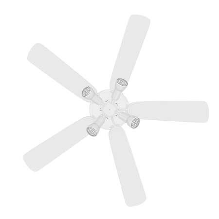 Bottom View of a 3D Rendered White Ceiling Fan on a White Background