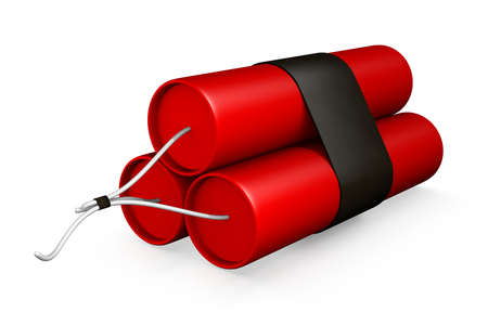 3D Rendering of a Bundle of Dynamite on a White Background Stock Photo